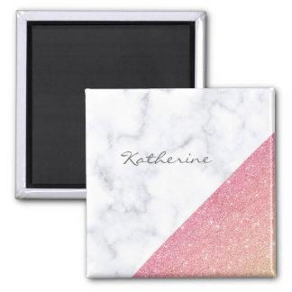 Imã Brilho cor-de-rosa do ouro do mármore branco