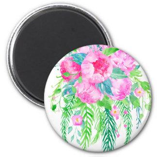 Imã Buquê cor-de-rosa da peônia da aguarela