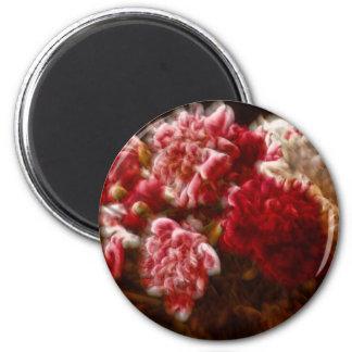 Imã Buquê vermelho flamejante da flor da peônia