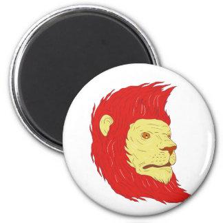 Imã Cabeça do leão com o desenho de fluxo da juba