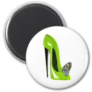 Imã Calçados e borboleta do estilete do verde limão
