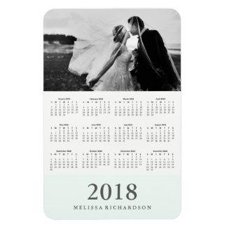 Ímã Calendário 2018 elegante Pastel da foto da listra