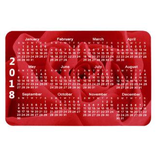 Ímã Calendário das pétalas de rosa vermelha 2018