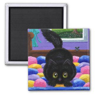 Imã Cama engraçada Creationarts do rato do gato preto
