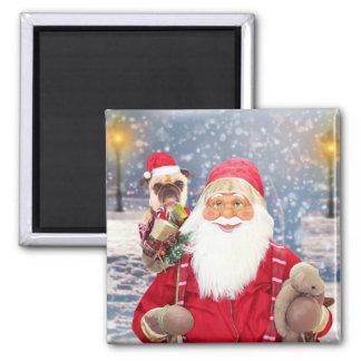 Imã Cão do Pug dos presentes do Natal de Papai Noel w