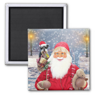 Imã Cão do Schnauzer diminuto do Natal de Papai Noel w