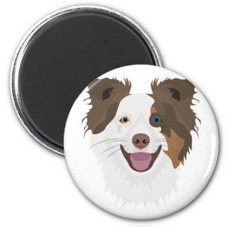 Imã Cara feliz border collie dos cães da ilustração