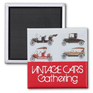 Imã Carros vintage que recolhem o auto cinza vermelho