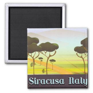 Imã Cartaz do viagem da paisagem de Siracusa Italia