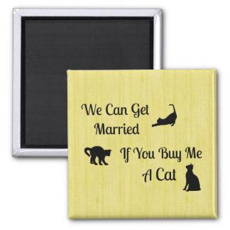 Ímã casado engraçado do quadrado do gato ímã quadrado