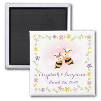 Imã Casamento bonito do rosa do casal da abelha do mel
