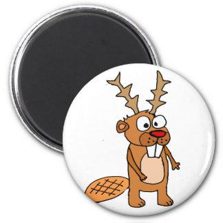 Imã Castor engraçado com arte do Natal dos Antlers da