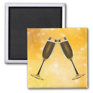 Imã Celebração dos vidros de Champagne no ouro