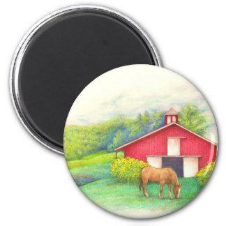 Imã Celeiro ilustrado com cavalo
