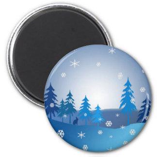 Imã Cena azul do inverno do Natal