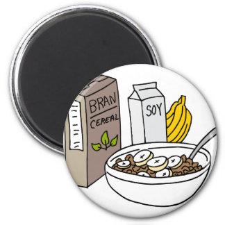 Imã Cereal do farelo com bananas e leite de soja
