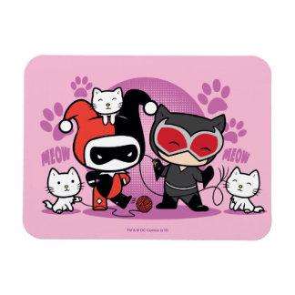 Ímã Chibi Harley Quinn & mulher-gato de Chibi com