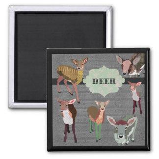 Ímã cinzento dos cervos do vintage ímã quadrado