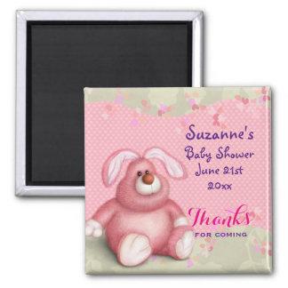 Imã Coelho cor-de-rosa bonito com o obrigado do chá de