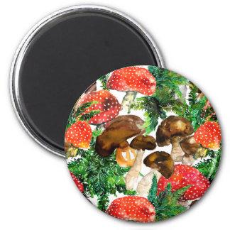 Imã Cogumelos da aguarela e teste padrão verde da