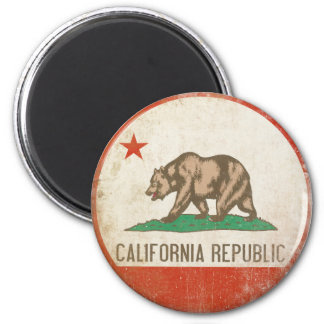 Ímã com a bandeira afligida da república de Califó Ímã Redondo 5.08cm