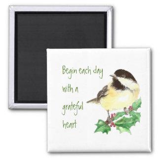 Imã Comece cada arte grata do pássaro do Chickadee do