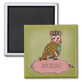 Ímã cor-de-rosa da mamã da coruja ímã quadrado