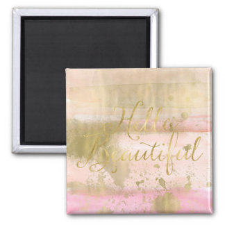 Imã Cora a aguarela Glam do ouro cor-de-rosa olá!