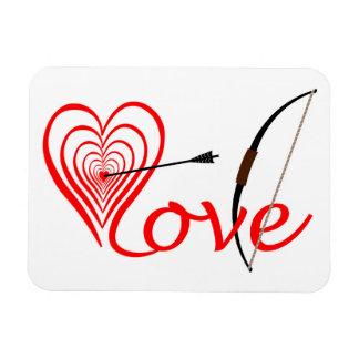 Ímã Coração amor alvo com seta e arco