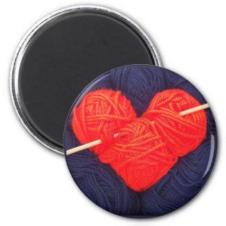 Imã Coração bonito de lãs com a fotografia da agulha