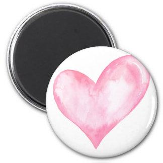 Imã Coração cor-de-rosa da aguarela, presente dos
