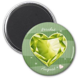 Imã Coração da verde azeitona do Peridot de