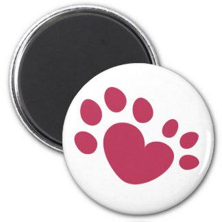Imã Coração Polydactyl do impressão da pata do gato