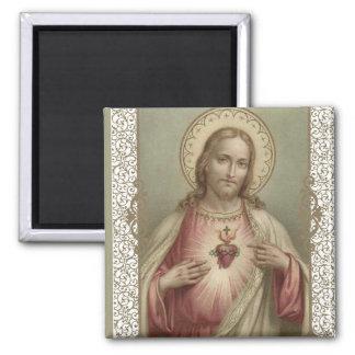 Imã Coração sagrado de Jesus com beira decorativa