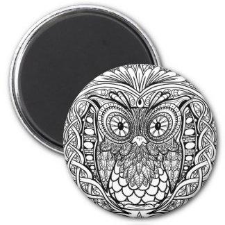 Imã Coruja atada da mandala preto e branco