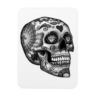 Ímã Crânio decorado preto e branco