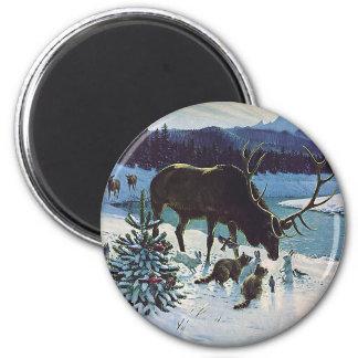 Imã Criaturas e alces da floresta do vintage na neve