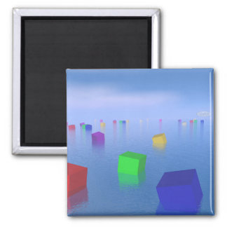 Imã Cubos coloridos que flutuam - 3D rendem