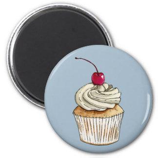 Imã Cupcake da aguarela com chantiliy e cereja