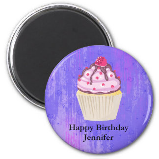 Imã Cupcake doce com a framboesa no aniversário