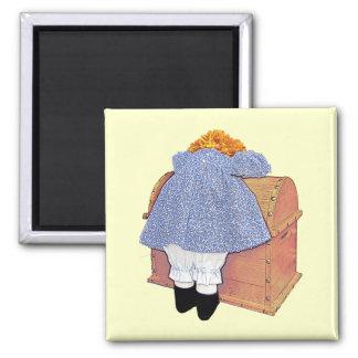 Ímã customizável amuando bonito da boneca ímã quadrado