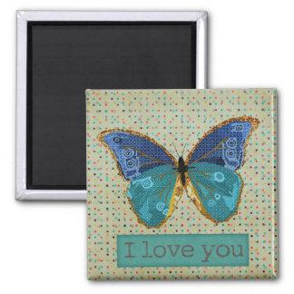 Ímã da arte do amor da borboleta de Boho Ímã Quadrado