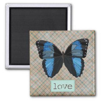 Ímã da arte do amor da borboleta do índigo ímã quadrado
