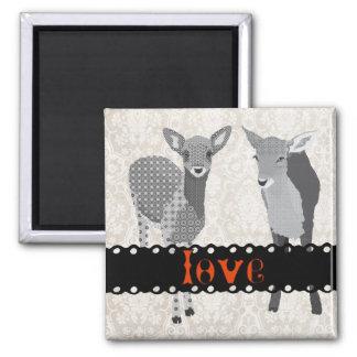 Ímã da arte do amor das jovens corças ímã quadrado