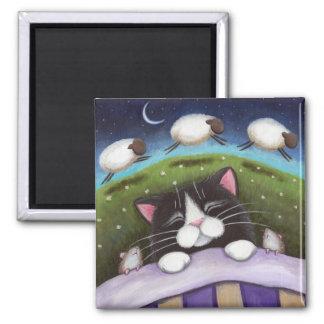 Ímã da arte do gato e do rato da fantasia ímã quadrado