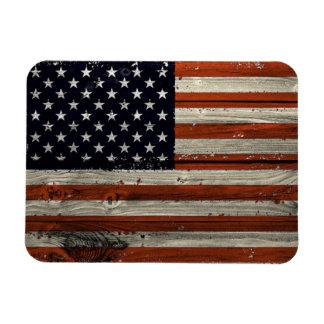 Ímã da foto com impressão de madeira americano da