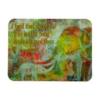 Ímã da imagem do elefante com uma mensagem!