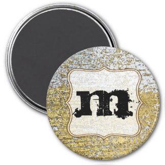 Ímã da inicial do monograma do Grunge do ouro e da Imas De Geladeira