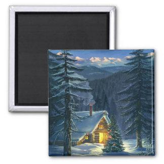 Ímã da paisagem da neve do Natal Ímã Quadrado