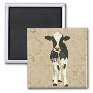 Ímã da vaca do ônix & da pérola ímã quadrado